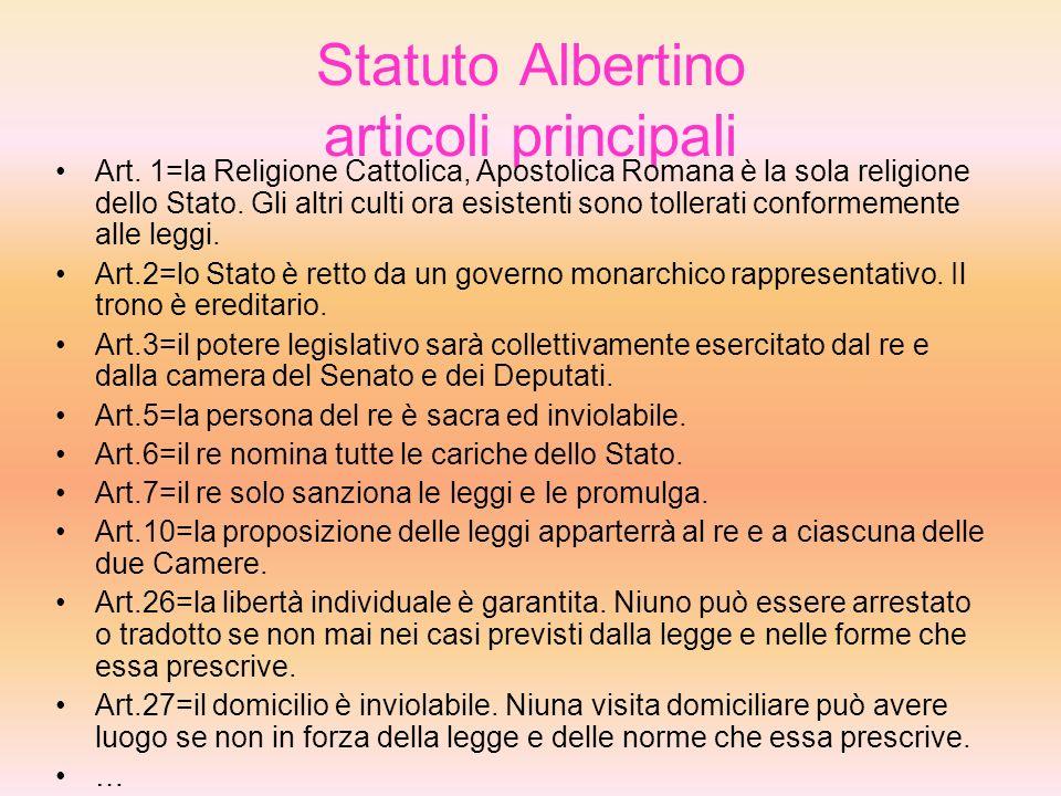 Statuto Albertino articoli principali Art.