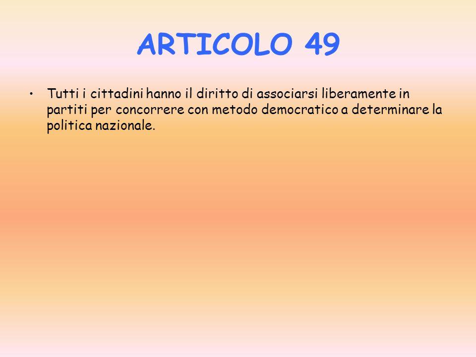 ARTICOLO 48 Sono elettori tutti i cittadini, uomini e donne, che abbiano raggiunto la maggiore età. Il voto è personale ed eguale, libero e segreto. I