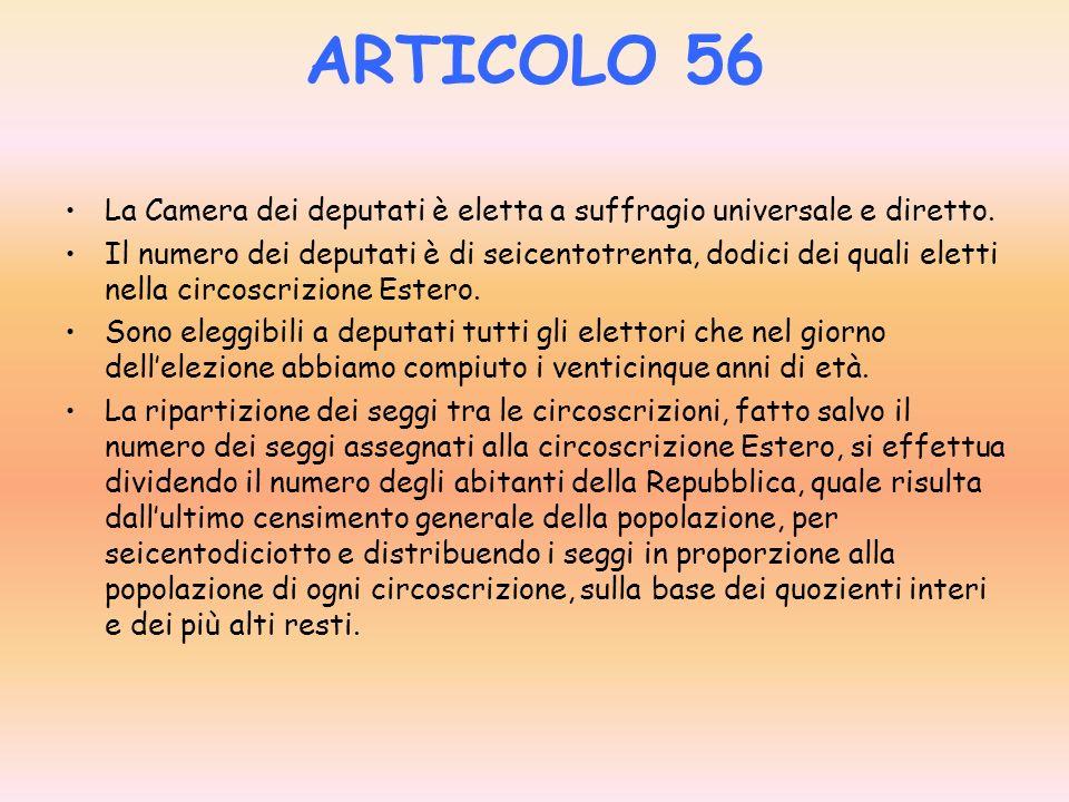 ARTICOLO 55 Il Parlamento si compone della Camera dei deputati e del Senato della Repubblica. Il parlamento si riunisce in seduta comune dei membri de