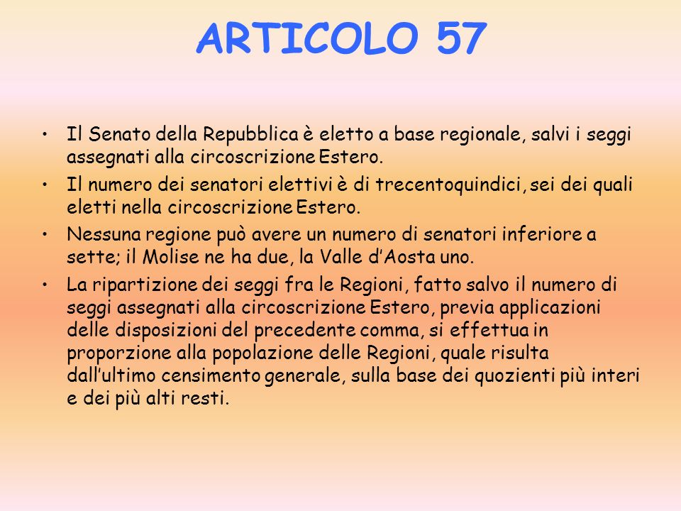 ARTICOLO 56 La Camera dei deputati è eletta a suffragio universale e diretto. Il numero dei deputati è di seicentotrenta, dodici dei quali eletti nell