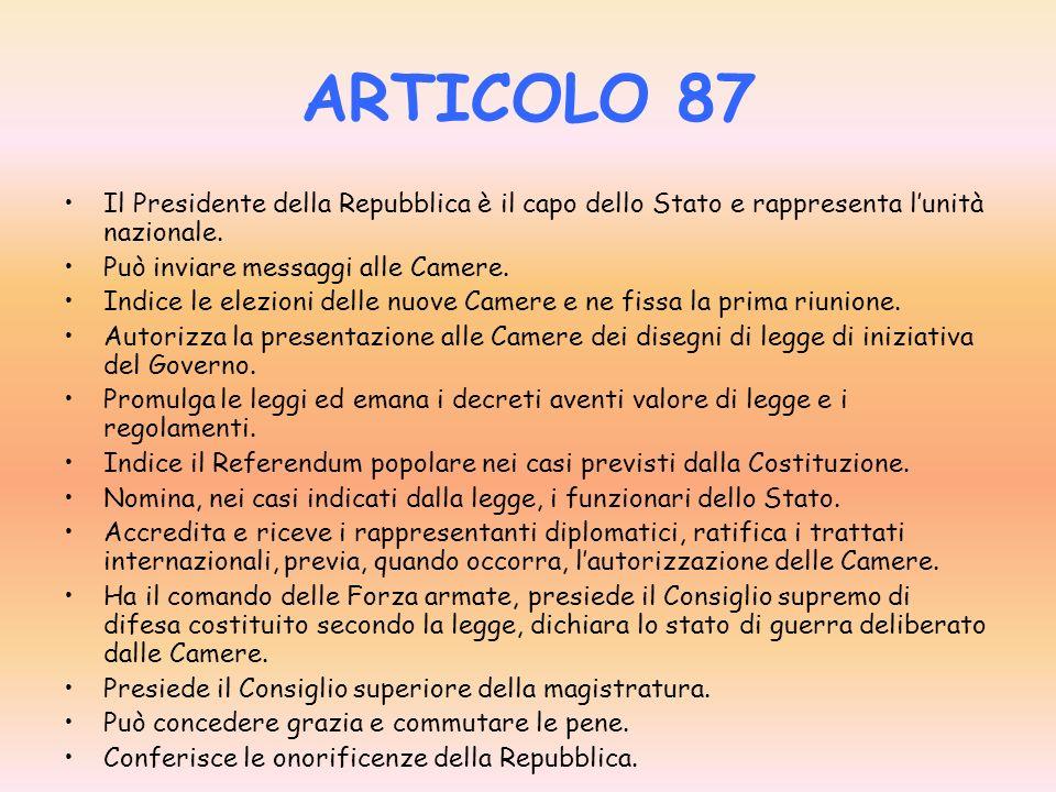 ARTICOLO 85 Il presidente della Repubblica è eletto per sette anni. Trenta giorni prima che scada il termine il presidente della camera dei deputati c