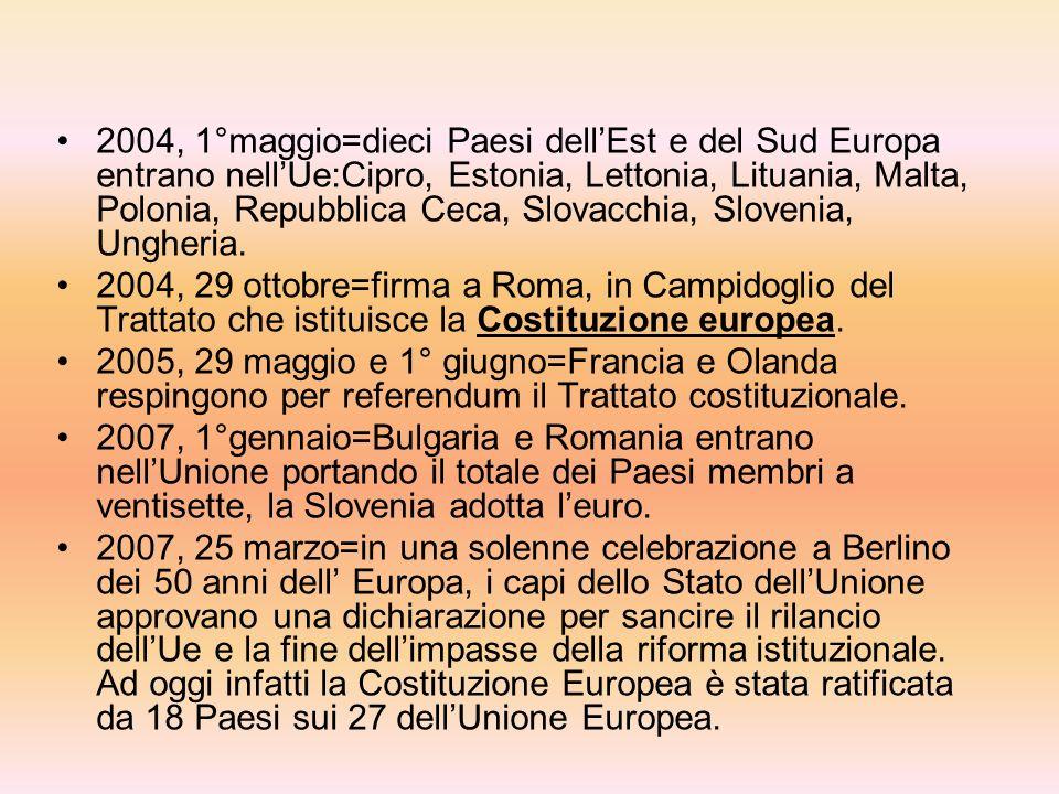 1992, 7 febbraio=firma del Trattato di Maastricht:nasce lUnione Europea(Ue) e si decide la creazione della moneta unica. 1993, 1°gennaio=completamento