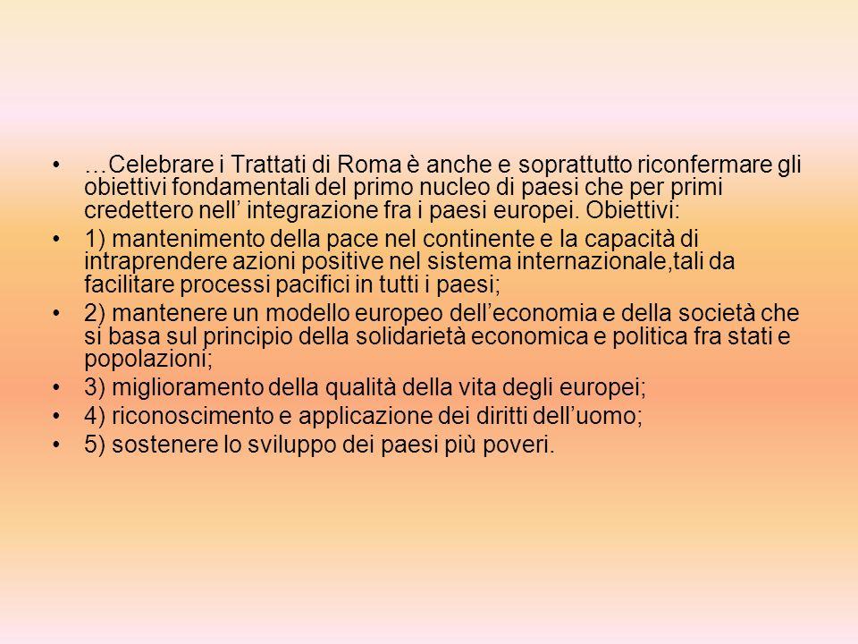 Dai trattati di Roma alla cittadinanza europea LEuropa di 50 anni fa rispondeva a problemi e situazioni che apparentemente sembrano ormai molto lontan