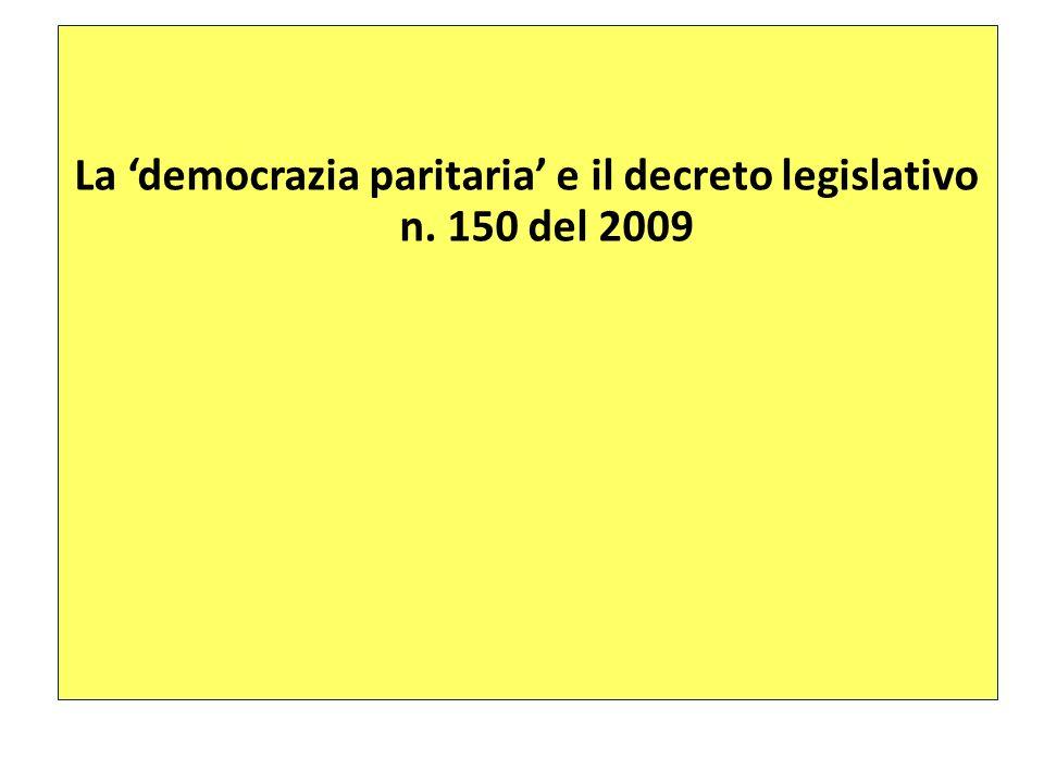 La democrazia paritaria e il decreto legislativo n. 150 del 2009