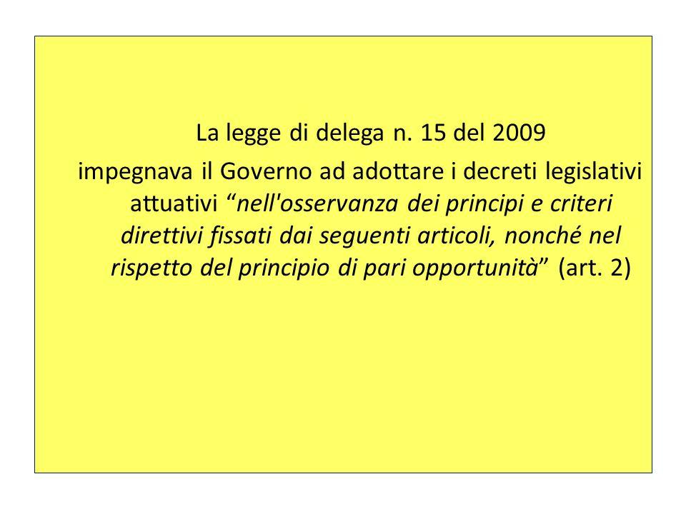 La legge di delega n. 15 del 2009 impegnava il Governo ad adottare i decreti legislativi attuativi nell'osservanza dei principi e criteri direttivi fi