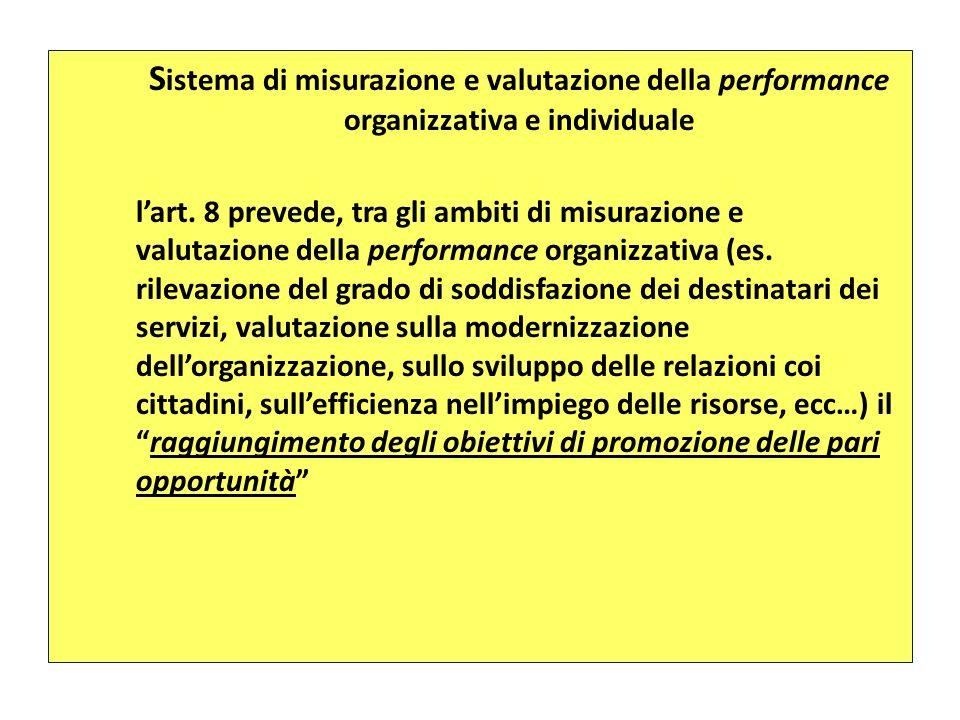 S istema di misurazione e valutazione della performance organizzativa e individuale lart. 8 prevede, tra gli ambiti di misurazione e valutazione della