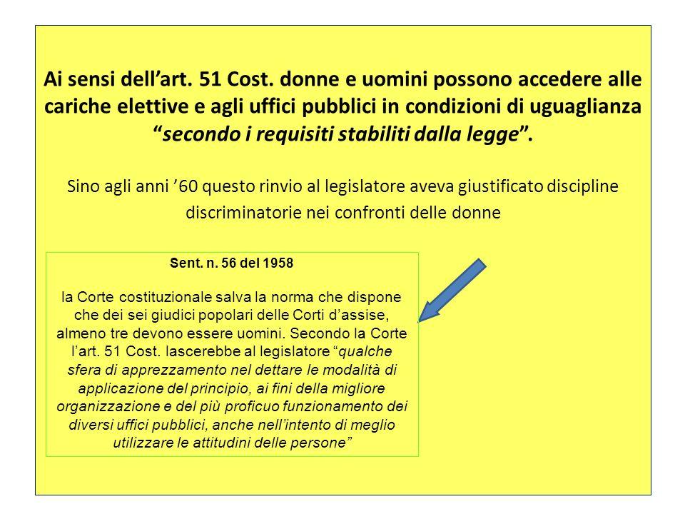 Ai sensi dellart. 51 Cost. donne e uomini possono accedere alle cariche elettive e agli uffici pubblici in condizioni di uguaglianzasecondo i requisit