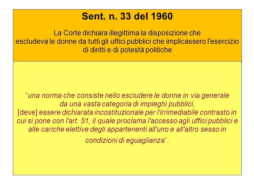 Sent. n. 33 del 1960 La Corte dichiara illegittima la disposizione che escludeva le donne da tutti gli uffici pubblici che implicassero l'esercizio di