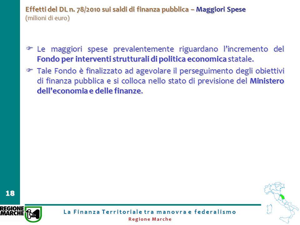 La Finanza Territoriale tra manovra e federalismo Regione Marche 18 Effetti del DL n. 78/2010 sui saldi di finanza pubblica – Maggiori Spese (milioni