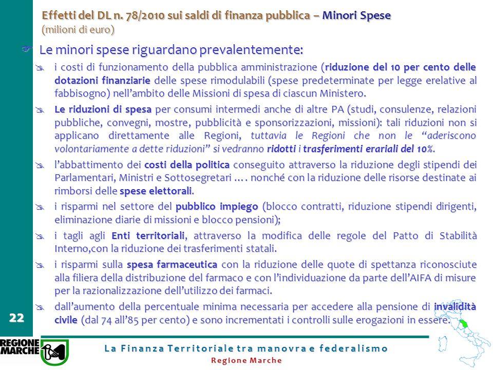 La Finanza Territoriale tra manovra e federalismo Regione Marche 22 Effetti del DL n. 78/2010 sui saldi di finanza pubblica – Minori Spese (milioni di