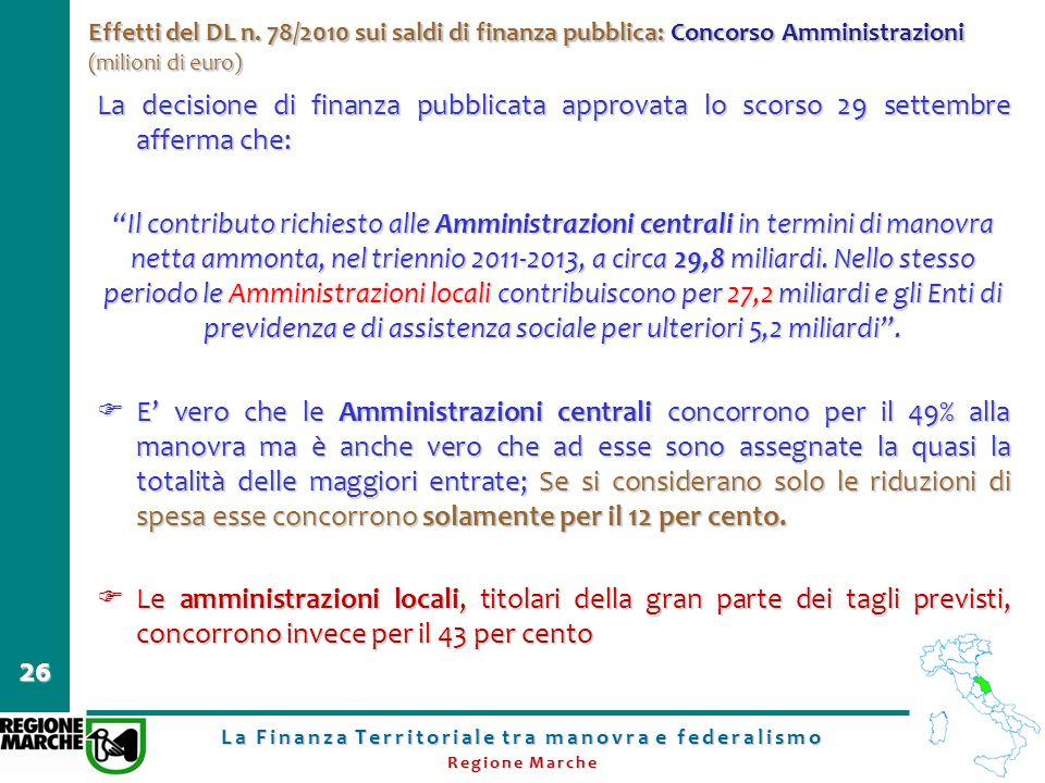 La Finanza Territoriale tra manovra e federalismo Regione Marche 26 Effetti del DL n. 78/2010 sui saldi di finanza pubblica: Concorso Amministrazioni