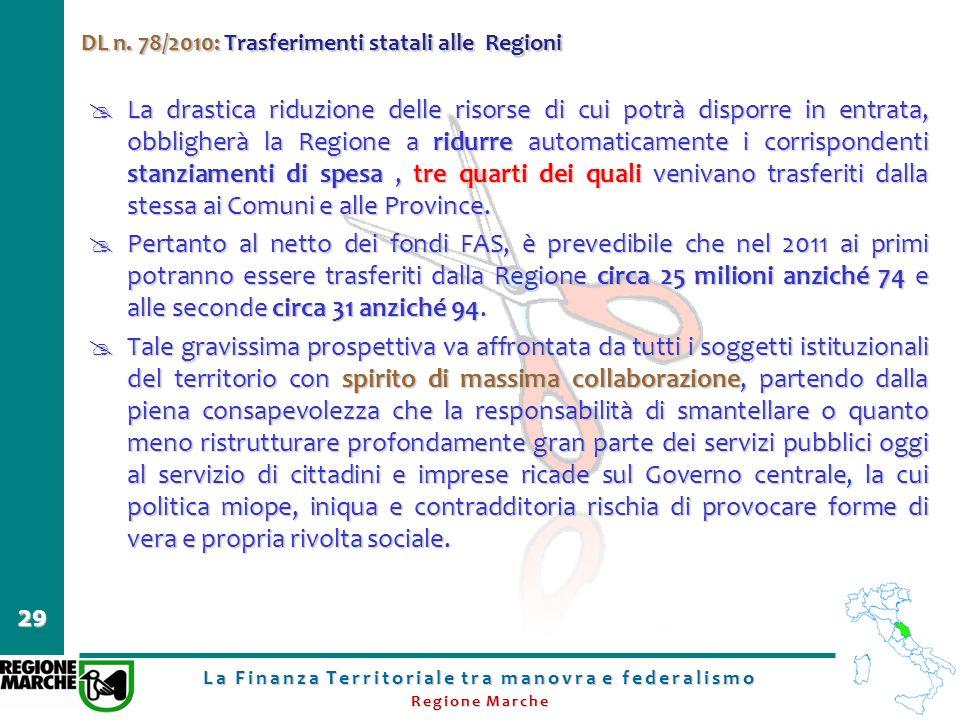 La Finanza Territoriale tra manovra e federalismo Regione Marche 29 DL n. 78/2010: Trasferimenti statali alle Regioni La drastica riduzione delle riso