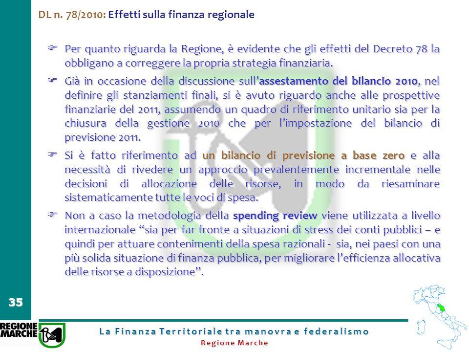 La Finanza Territoriale tra manovra e federalismo Regione Marche 35 DL n. 78/2010: Effetti sulla finanza regionale Per quanto riguarda la Regione, è e