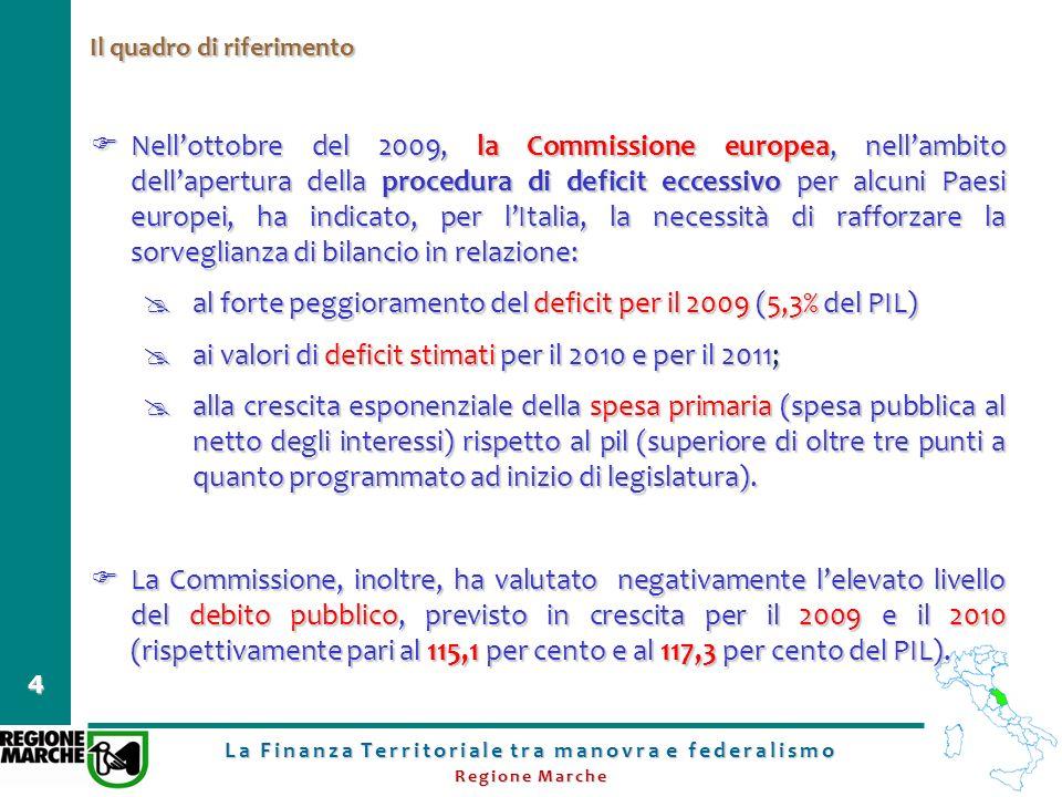 La Finanza Territoriale tra manovra e federalismo Regione Marche 4 Il quadro di riferimento Nellottobre del 2009, la Commissione europea, nellambito d