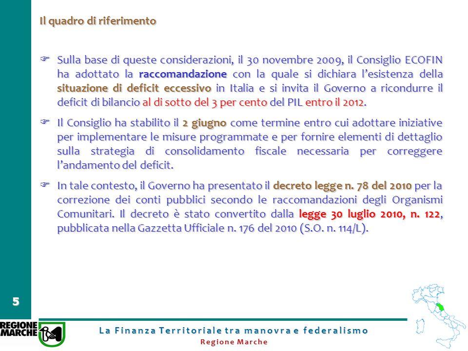 La Finanza Territoriale tra manovra e federalismo Regione Marche 5 Il quadro di riferimento Sulla base di queste considerazioni, il 30 novembre 2009,