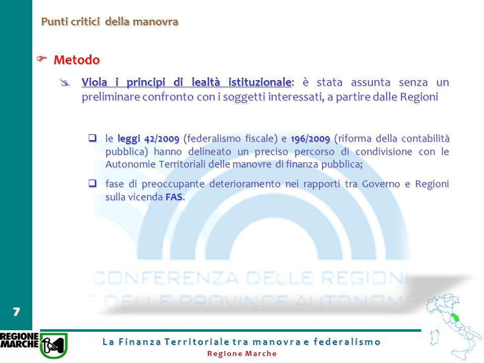 La Finanza Territoriale tra manovra e federalismo Regione Marche 7 Punti critici della manovra Metodo Metodo Viola i principi di lealtà istituzionale: