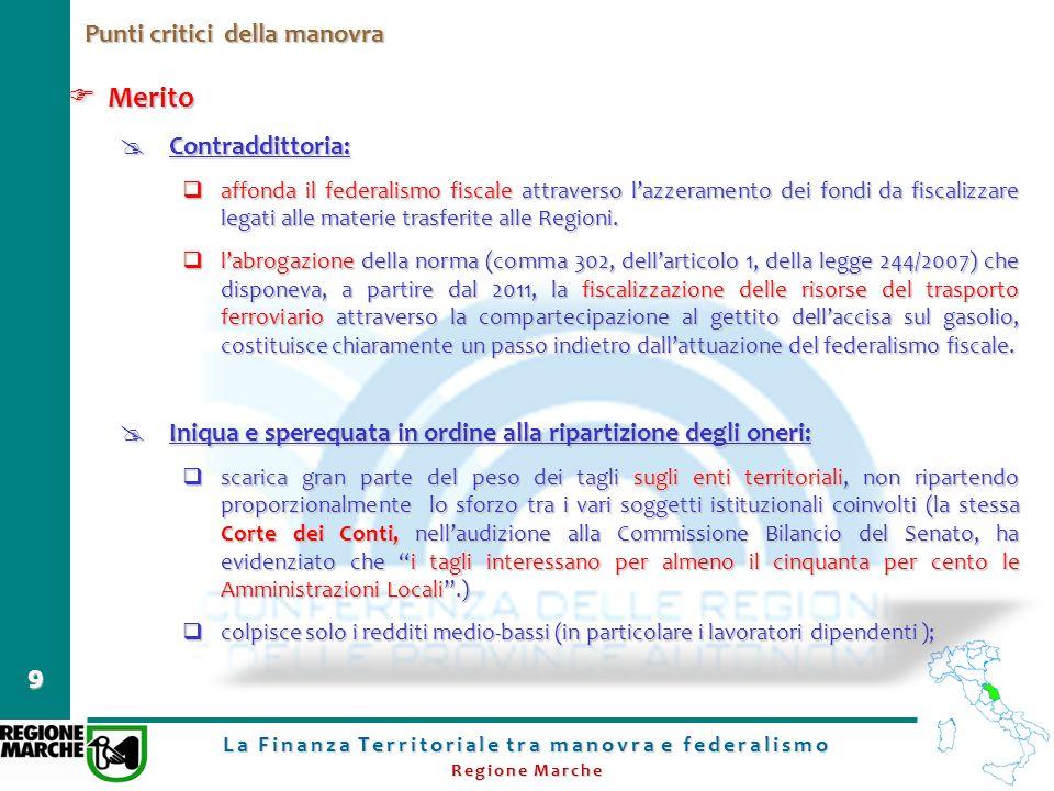 La Finanza Territoriale tra manovra e federalismo Regione Marche 9 Punti critici della manovra Merito Merito Contraddittoria: Contraddittoria: affonda