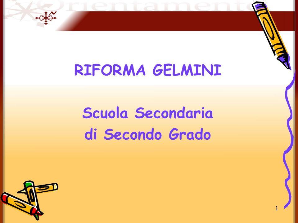 1 RIFORMA GELMINI Scuola Secondaria di Secondo Grado