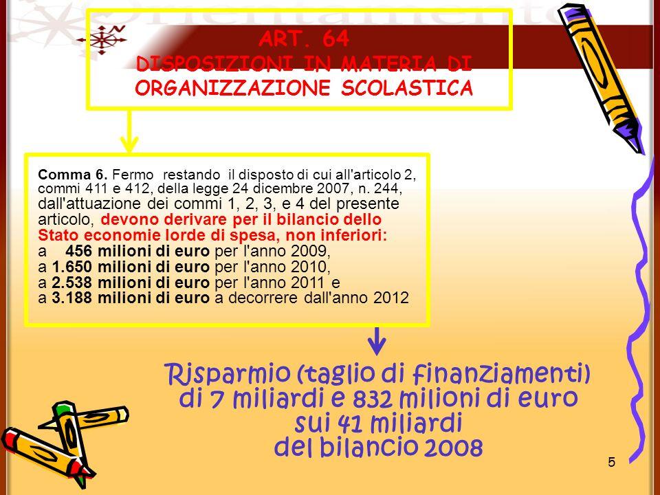 5 ART. 64 DISPOSIZIONI IN MATERIA DI ORGANIZZAZIONE SCOLASTICA Risparmio (taglio di finanziamenti) di 7 miliardi e 832 milioni di euro sui 41 miliardi