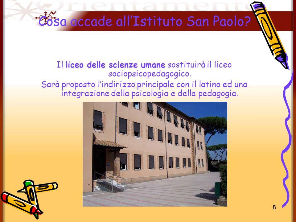 8 Cosa accade allIstituto San Paolo? Il liceo delle scienze umane sostituirà il liceo sociopsicopedagogico. Sarà proposto lindirizzo principale con il