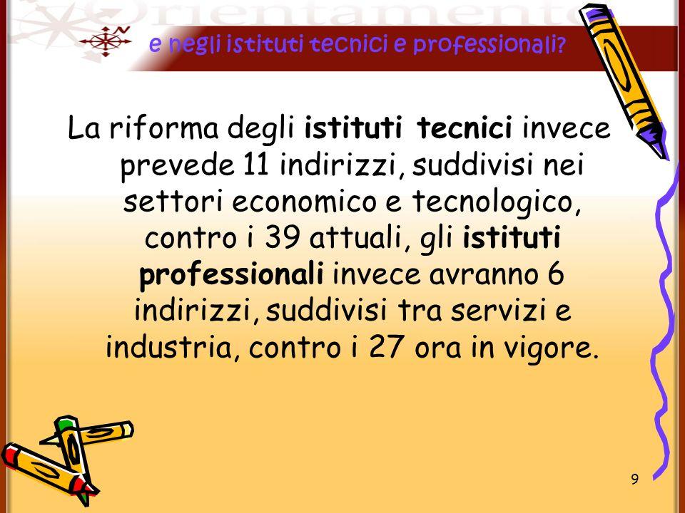 9 La riforma degli istituti tecnici invece prevede 11 indirizzi, suddivisi nei settori economico e tecnologico, contro i 39 attuali, gli istituti prof