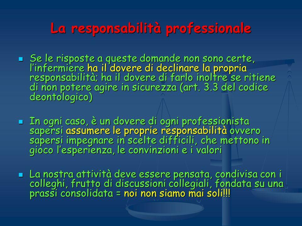 La responsabilità professionale Se le risposte a queste domande non sono certe, linfermiere ha il dovere di declinare la propria responsabilità; ha il