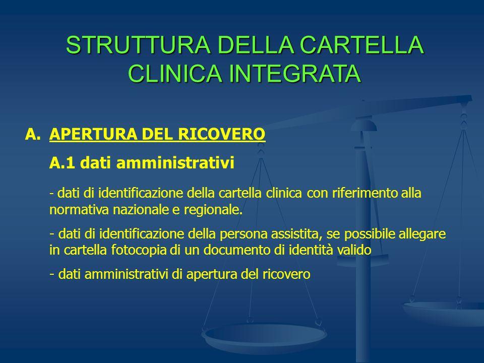STRUTTURA DELLA CARTELLA CLINICA INTEGRATA A.APERTURA DEL RICOVERO A.1 dati amministrativi - dati di identificazione della cartella clinica con riferi