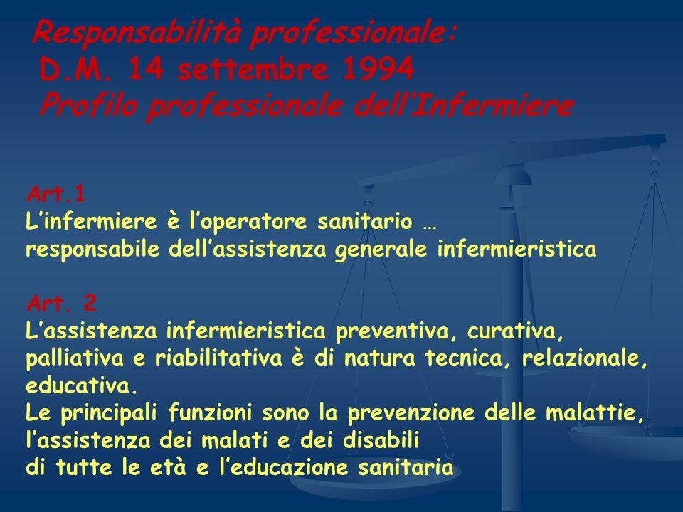 Responsabilità professionale: D.M. 14 settembre 1994 Profilo professionale dellInfermiere Art.1 Linfermiere è loperatore sanitario … responsabile dell