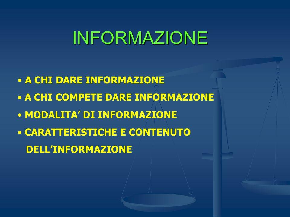 INFORMAZIONE A CHI DARE INFORMAZIONE A CHI COMPETE DARE INFORMAZIONE MODALITA DI INFORMAZIONE CARATTERISTICHE E CONTENUTO DELLINFORMAZIONE