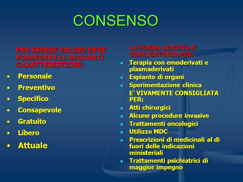 CONSENSO PER ESSERE VALIDO DEVE POSSEDERE LE SEGUENTI CARATTERISTICHE: Personale Personale Preventivo Preventivo Specifico Specifico Consapevole Consa