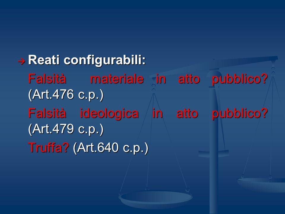 Reati configurabili: Reati configurabili: Falsità materiale in atto pubblico? (Art.476 c.p.) Falsità ideologica in atto pubblico? (Art.479 c.p.) Truff