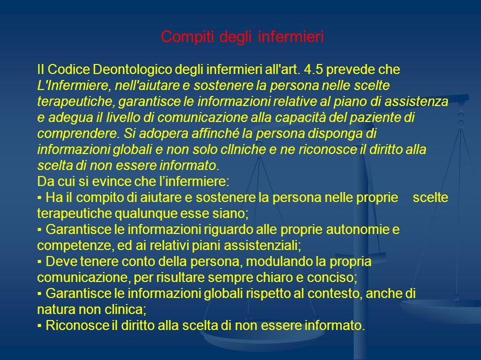Compiti degli infermieri Il Codice Deontologico degli infermieri all'art. 4.5 prevede che L'Infermiere, nell'aiutare e sostenere la persona nelle scel