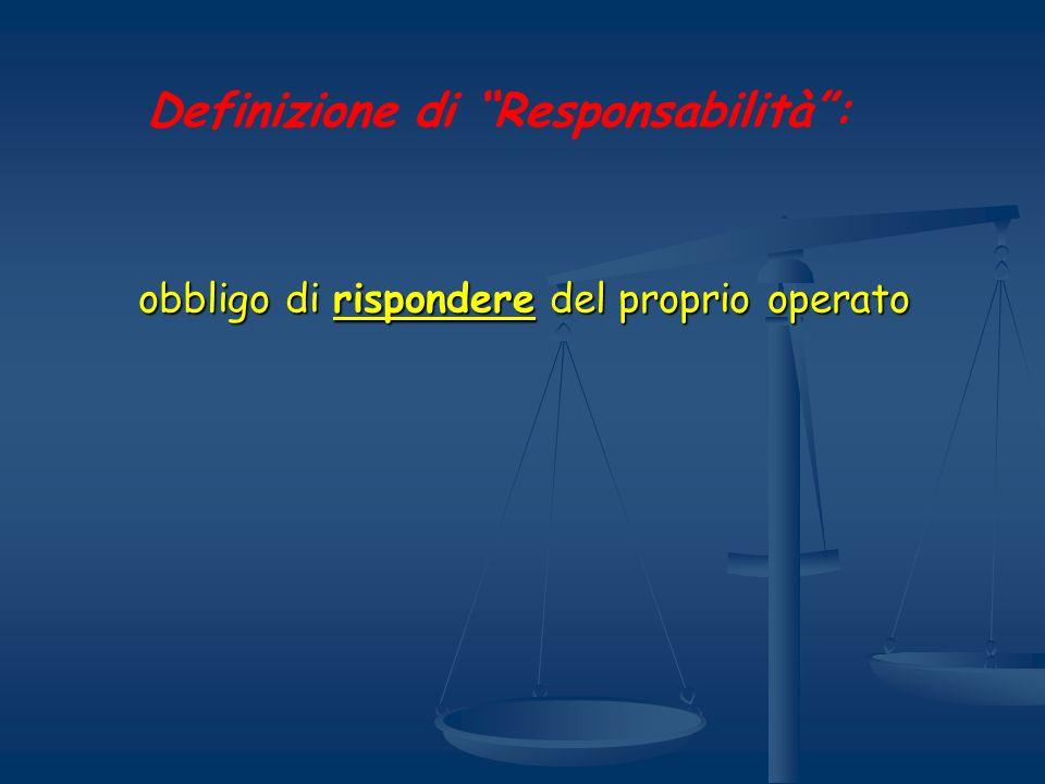 obbligo di rispondere del proprio operato Definizione di Responsabilità: