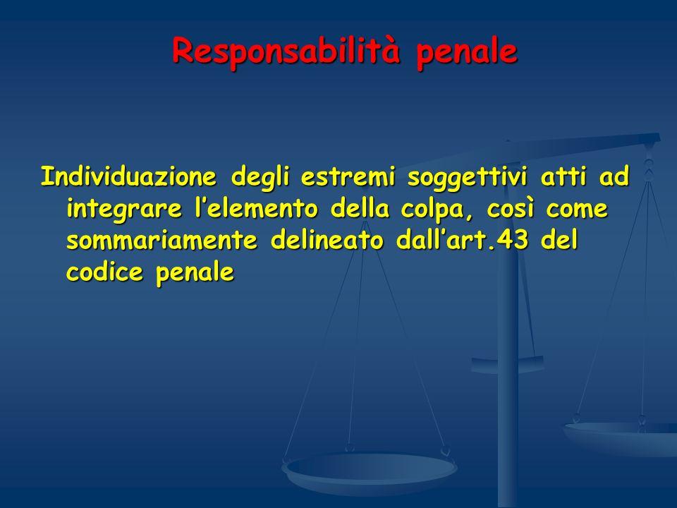 Responsabilità penale Responsabilità penale Individuazione degli estremi soggettivi atti ad integrare lelemento della colpa, così come sommariamente d