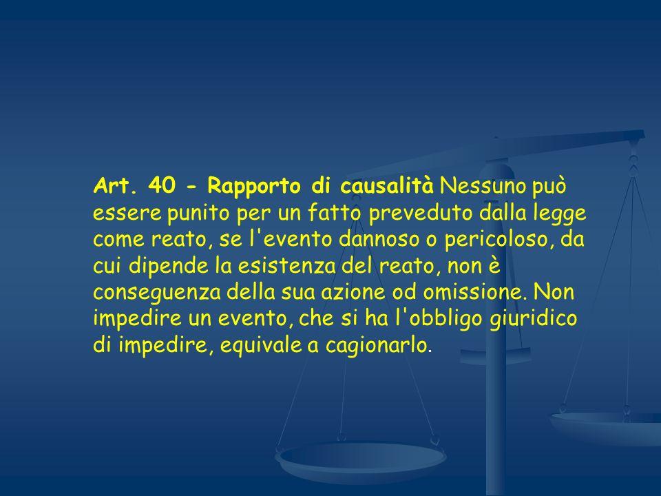 Art. 40 - Rapporto di causalità Nessuno può essere punito per un fatto preveduto dalla legge come reato, se l'evento dannoso o pericoloso, da cui dipe