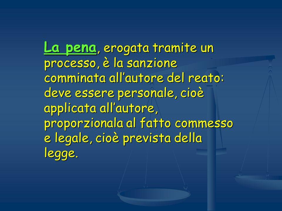 La pena, erogata tramite un processo, è la sanzione comminata allautore del reato: deve essere personale, cioè applicata allautore, proporzionala al f