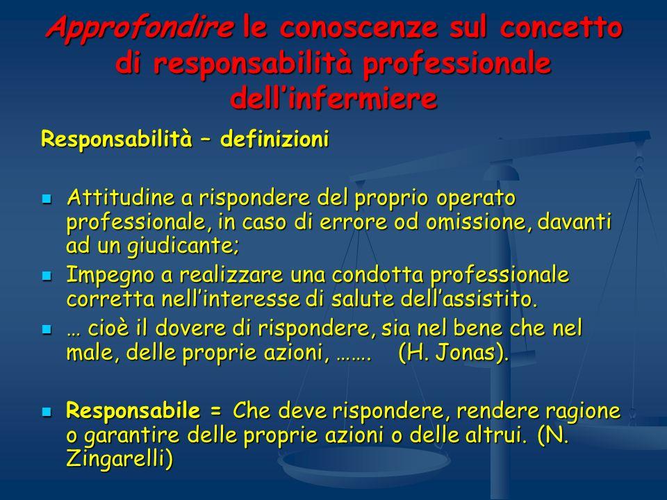 Approfondire le conoscenze sul concetto di responsabilità professionale dellinfermiere Responsabilità – definizioni Attitudine a rispondere del propri