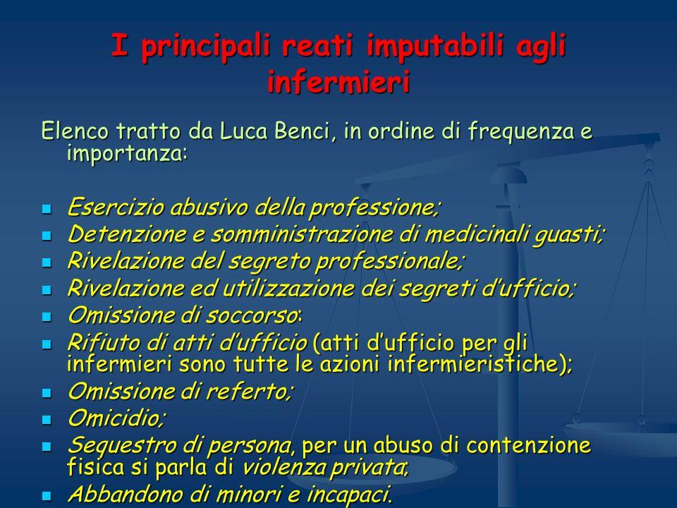 I principali reati imputabili agli infermieri Elenco tratto da Luca Benci, in ordine di frequenza e importanza: Esercizio abusivo della professione; E