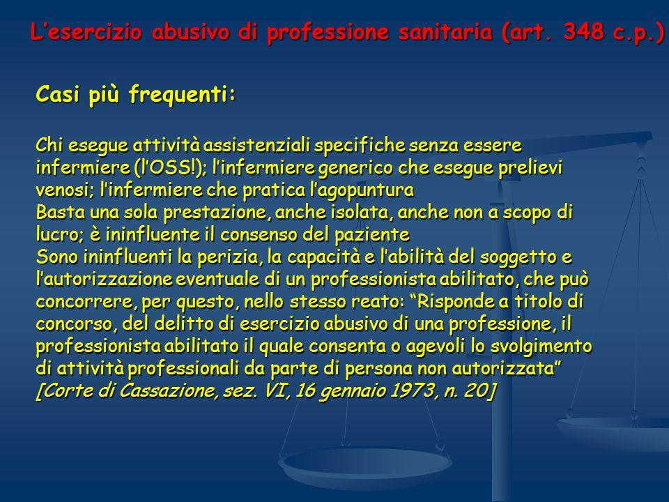 Lesercizio abusivo di professione sanitaria (art. 348 c.p.) Casi più frequenti: Chi esegue attività assistenziali specifiche senza essere infermiere (