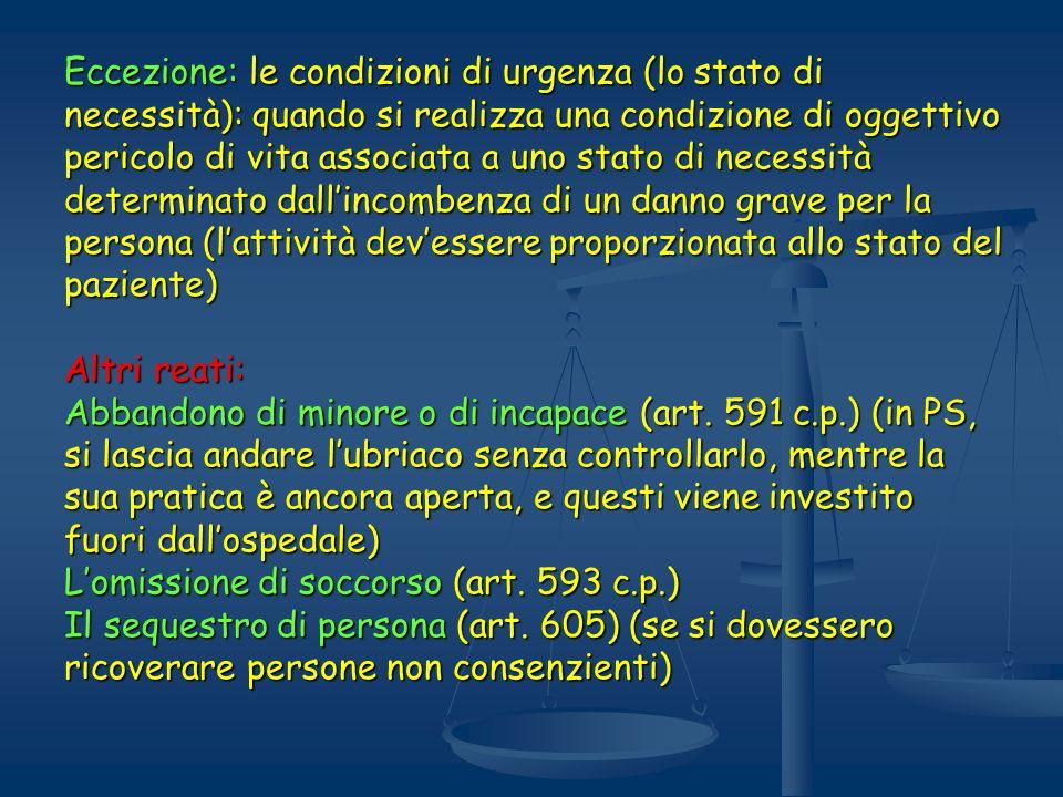 Eccezione: le condizioni di urgenza (lo stato di necessità): quando si realizza una condizione di oggettivo pericolo di vita associata a uno stato di