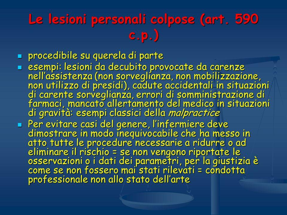 Le lesioni personali colpose (art. 590 c.p.) procedibile su querela di parte procedibile su querela di parte esempi: lesioni da decubito provocate da