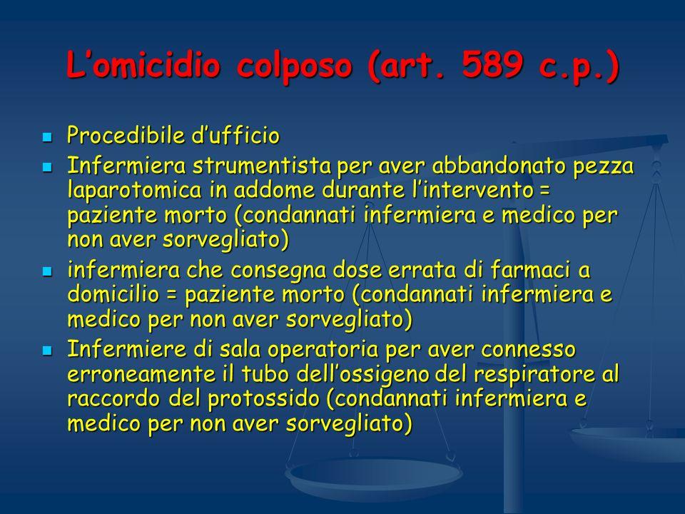 Lomicidio colposo (art. 589 c.p.) Procedibile dufficio Procedibile dufficio Infermiera strumentista per aver abbandonato pezza laparotomica in addome