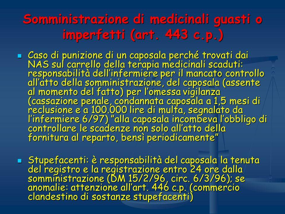 Somministrazione di medicinali guasti o imperfetti (art. 443 c.p.) Caso di punizione di un caposala perché trovati dai NAS sul carrello della terapia