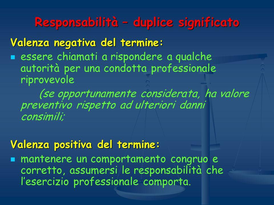 Responsabilità – duplice significato Valenza negativa del termine: essere chiamati a rispondere a qualche autorità per una condotta professionale ripr
