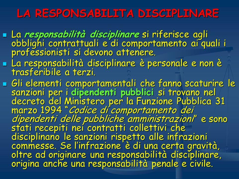 LA RESPONSABILITA DISCIPLINARE La responsabilità disciplinare si riferisce agli obblighi contrattuali e di comportamento ai quali i professionisti si