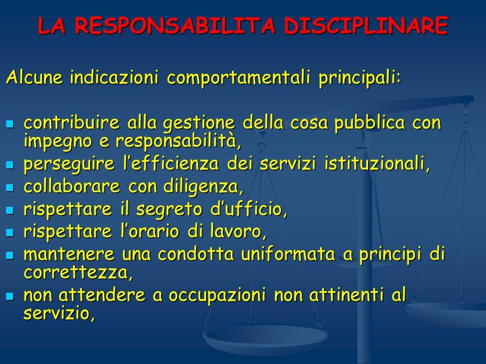 LA RESPONSABILITA DISCIPLINARE Alcune indicazioni comportamentali principali: contribuire alla gestione della cosa pubblica con impegno e responsabili