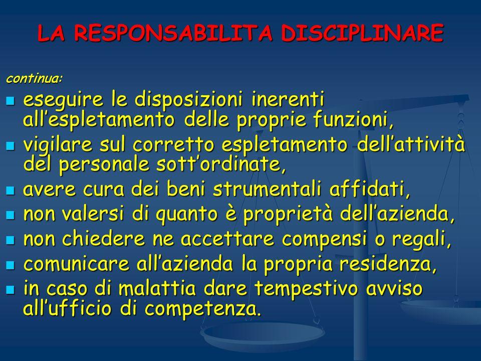 LA RESPONSABILITA DISCIPLINARE continua: eseguire le disposizioni inerenti allespletamento delle proprie funzioni, eseguire le disposizioni inerenti a