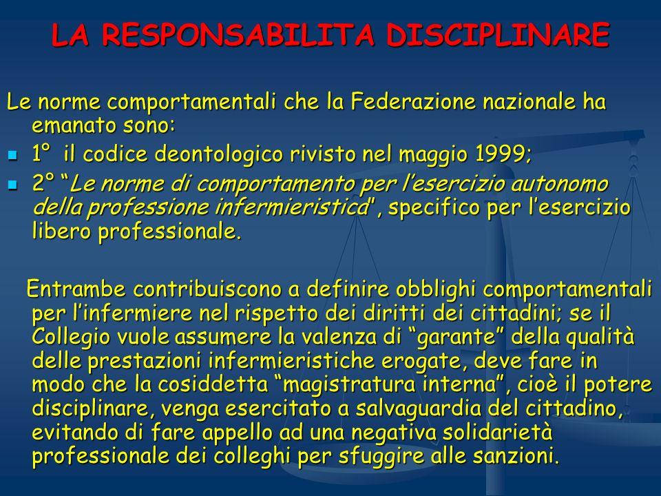 LA RESPONSABILITA DISCIPLINARE Le norme comportamentali che la Federazione nazionale ha emanato sono: 1° il codice deontologico rivisto nel maggio 199