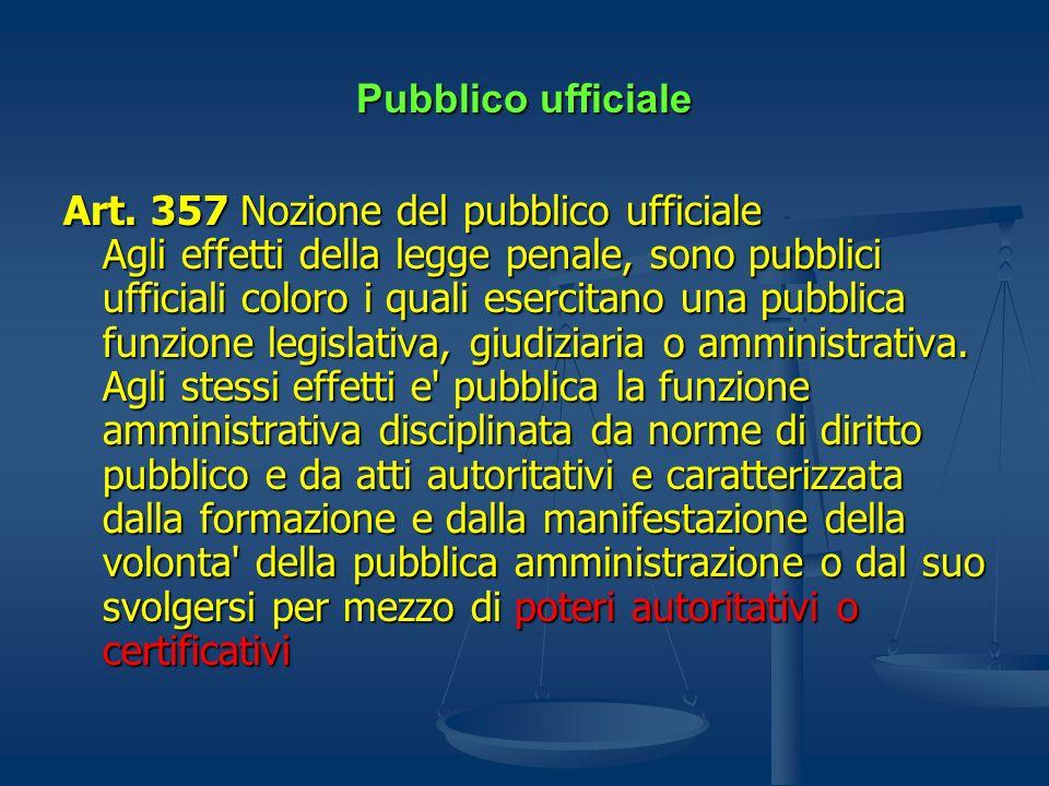 Pubblico ufficiale Art. 357 Nozione del pubblico ufficiale Agli effetti della legge penale, sono pubblici ufficiali coloro i quali esercitano una pubb