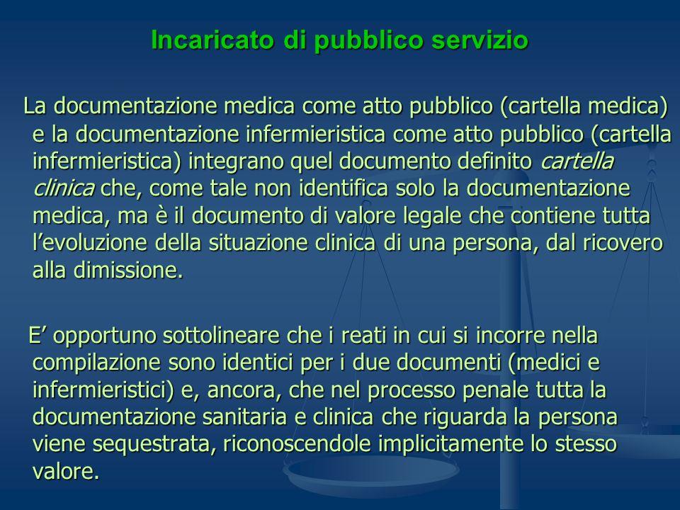 Incaricato di pubblico servizio La documentazione medica come atto pubblico (cartella medica) e la documentazione infermieristica come atto pubblico (